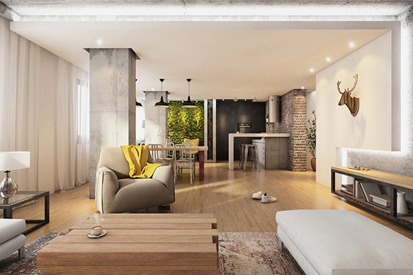 open concept, loft, espacios abiertos, conectados, flexibilidad, luz, vivienda, piso, familia, comunicación, tabiques, muros, paneles móviles, cocina, comedor.