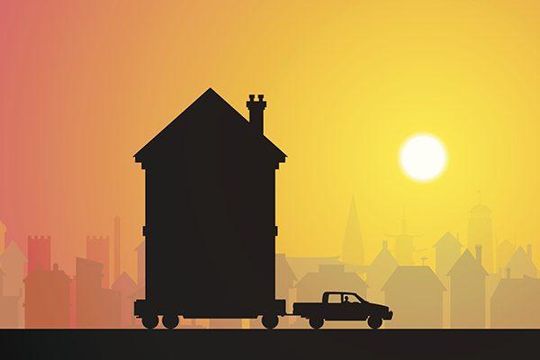 edificios, casas, trasladar, mover, desmontar